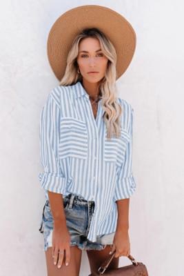 Sky Blue Cotton Striped Button Shirt