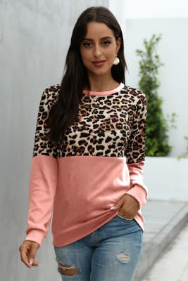Pink Leopard Patchwork Sweatshirt