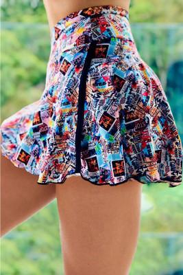Multicolor Double-decker Tie-dye High Waist Sports Skirt Shorts