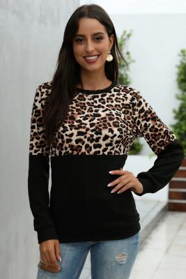 Black Leopard Patchwork Sweatshirt