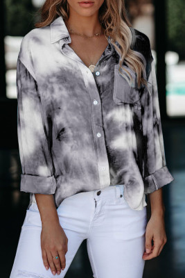 Gray Whirlwind Tie Dye Button Shirt with Pocket