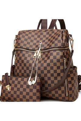 Plaid Large Capacity Zip Up Backpack Handbag