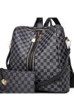 Plaid Large Capacity Zip Up Backpack Handbag
