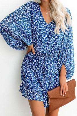 Blue V Neck Lantern Sleeves Floral Tunic Dress