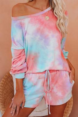 Pink Tie-dye Print Long Sleeve and Shorts Loungewear