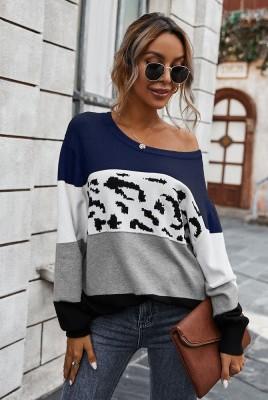 Blue Color Block Leopard Sweater