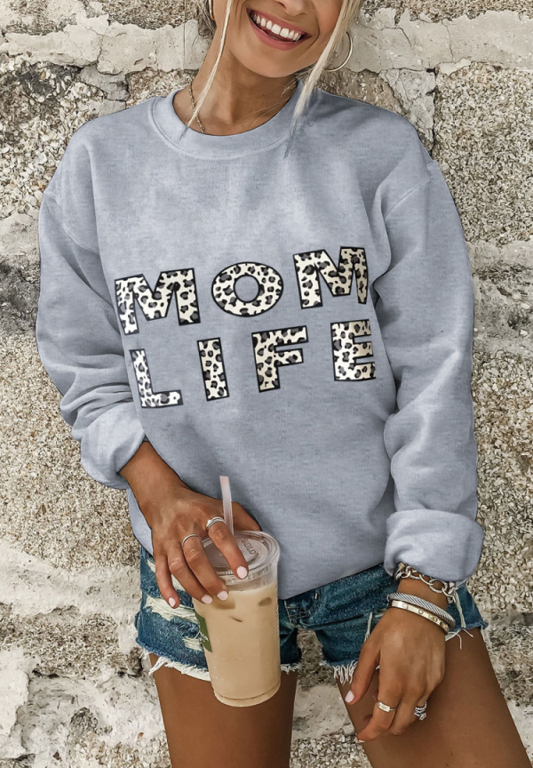 Mom Life Leopard Graphee Sweatshirts