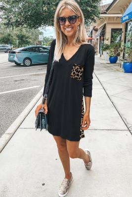 Leopard Print Splicing Black Cotton Mini Dress