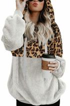 White Leopard Hooded Sweatshirt