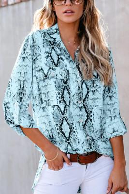 Blue Wild Snake Print Shirt with Pockets
