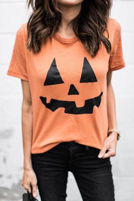 Round Neck Short Sleeve Pumpkin Pattern Orange T-shirt