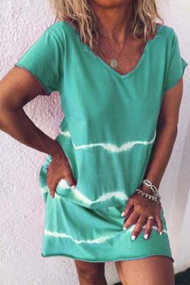 Green Tie Dye Casual Mini Dress