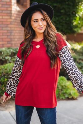 Red Crisscross V Neck Leopard Sleeve Blouse