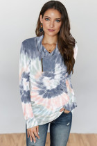 Gray Tie-dye Print Zipper Pullover Top