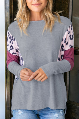 Color Block Leopard Print Sleeves Top