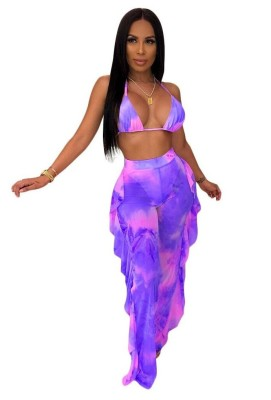 Ombre Colorblock Mesh 2pcs Swimsuits