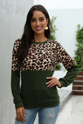 Army Green Leopard Patchwork Sweatshirt