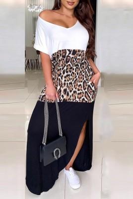 Colorblock Leopard Split Dresses