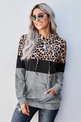 Gray Leopard Tie Dye Colorblock Hoodie