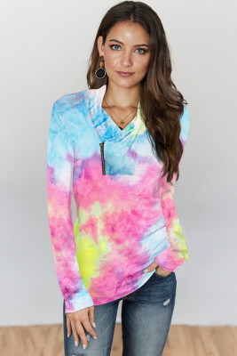 Pink Tie-dye Print Zipper Pullover Top