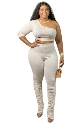 Copy One Sleeve Stacked Pants Set Outfits
