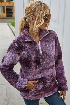 Purple Tie Dye Sweatershirt with Pocket
