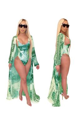 Money Print 2pcs Swimsuits with Belt