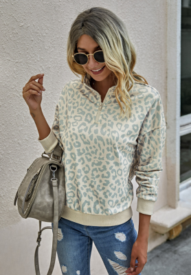 Leopard High Neck Sweatshirts with Zipper