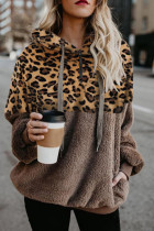Kahki Leopard Hooded Sweatshirt