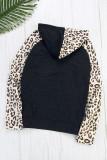 Leopard Print Patchwork Hoodie