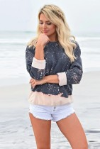 Sparkling Color Block Long Sleeve Tops