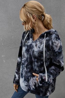 Dark Grey Tie-dye Hooded Coral Fleece Sweatshirt