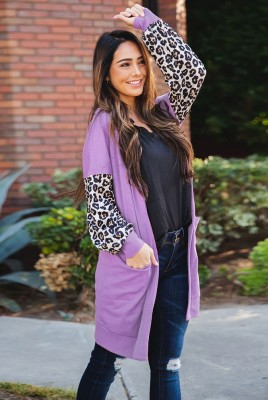 Leopard Cardigan With Pockets