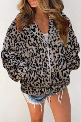 Leopard Print Sherpa Jacket Coat