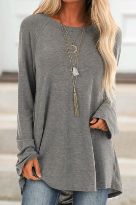 Gray Knit Tunic Top
