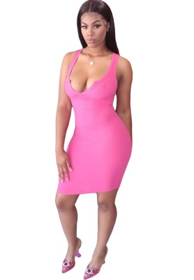 Solid Deep V Neck Dresses