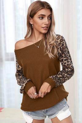 Brown Leopard Long Sleeve Top