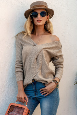 Solid Knitted Patchwork Sweater