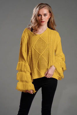 Knitted Sweater with Tassel