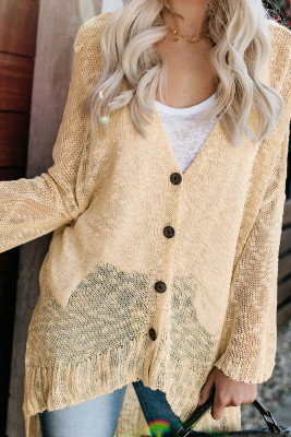 Apricot Loose Lightweight V Neck Buttoned Sheer Knit Cardigan