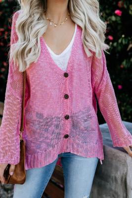 Pink Loose Lightweight V Neck Buttoned Sheer Knit Cardigan