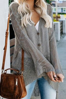 Gray Loose Lightweight V Neck Buttoned Sheer Knit Cardigan