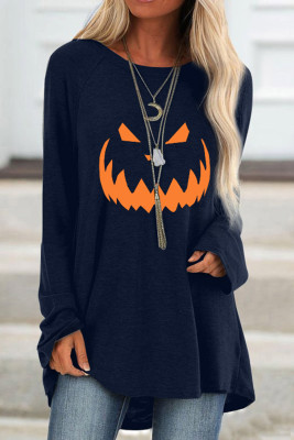 Blue Halloween Printed Pullover Long Sleeve Tunic Top