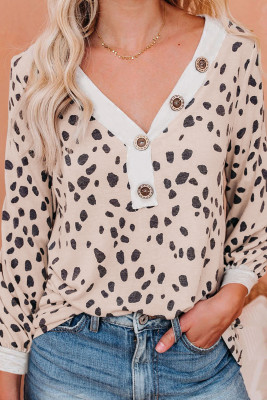 Spotted Print Apricot Long Sleeve Knit Top