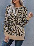 Brown Round Neck Long Sleeve Leopard Print Loose Fit Sweatshirt