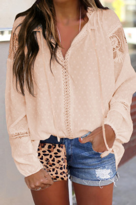 Apricot V Neck Lantern Sleeve Lace Hollow Out Long Sleeve Top