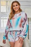 Multi-color Tie Dye Long Sleeve Top& Shorts Plus Size Loungewear
