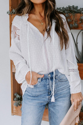 White V Neck Lantern Sleeve Lace Hollow Out Long Sleeve Top
