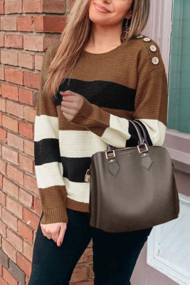 Khaki Button Detailed Color Block Knit Sweater
