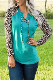 Green Leopard Patchwork Lace-up Front Long Sleeve Top